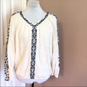 Style & Co Embroidered Top Sz Large